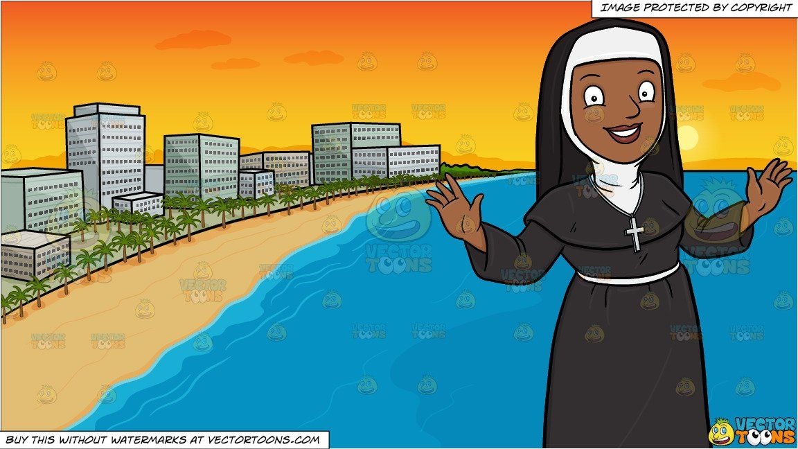 clipart #cartoon A Happy Black Nun Greeting Everyone A Warm.
