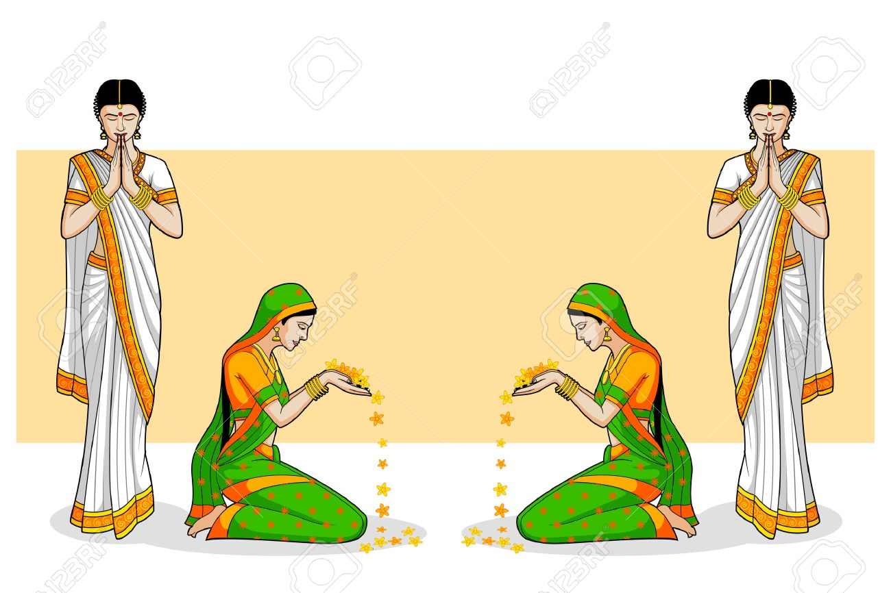 Indian Woman in welcome gesture.