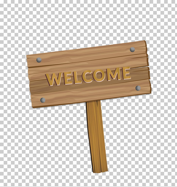 Wood Euclidean , welcome, brown welcome signage illustration.