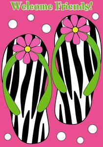 Details about Zebra Flip Flops Summer Beach Welcome Friends Large Standard  Flag DT.