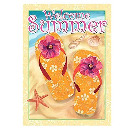 ALAZA Welcome Summer Flip Flop On Beach Double Sided House Flag Garden  Banner 28\