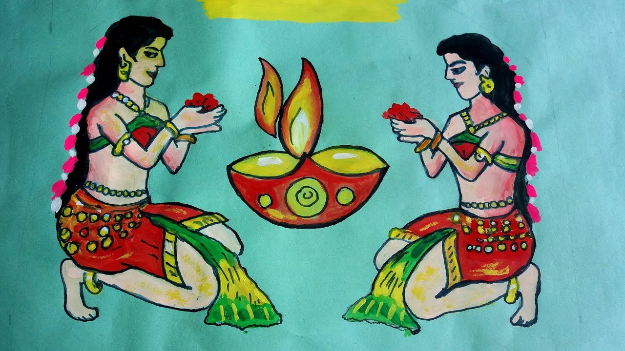 how to draw welcome girls for diwali painting step by step.