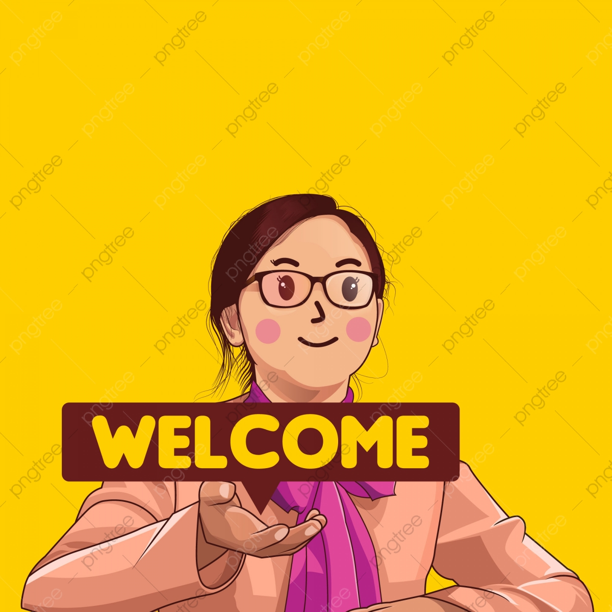 Welcome Girl, Character, Vector, Cute Girl PNG and Vector with.