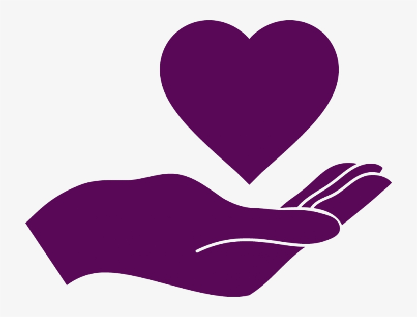 Deep Purple Icon Of Hand With Heart Above It.