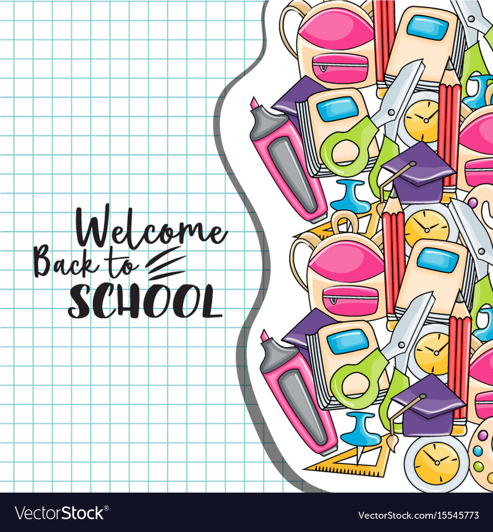 Welcome back to school doodle clip art.