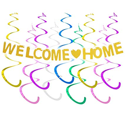 JOYMEMO Welcome Home Banner Decoration Kits for Family Party Decor Gold  Glitter.