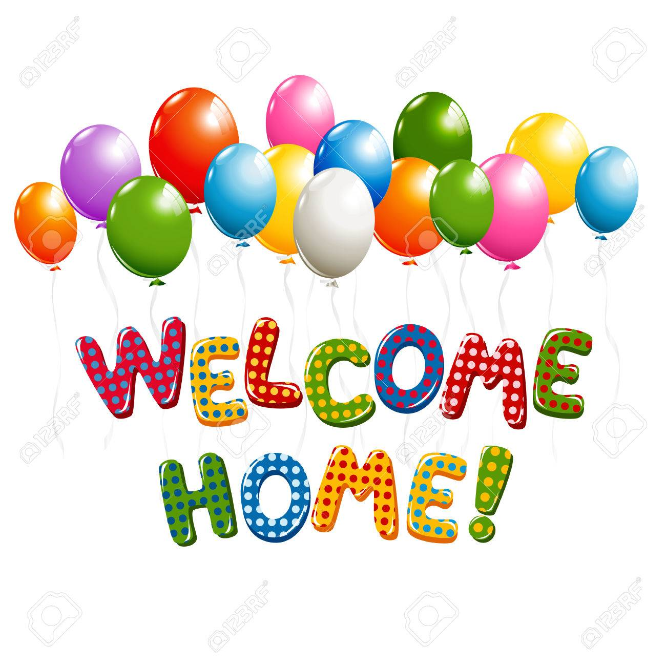 Welcome Home text in colorful polka dot design with balloons.