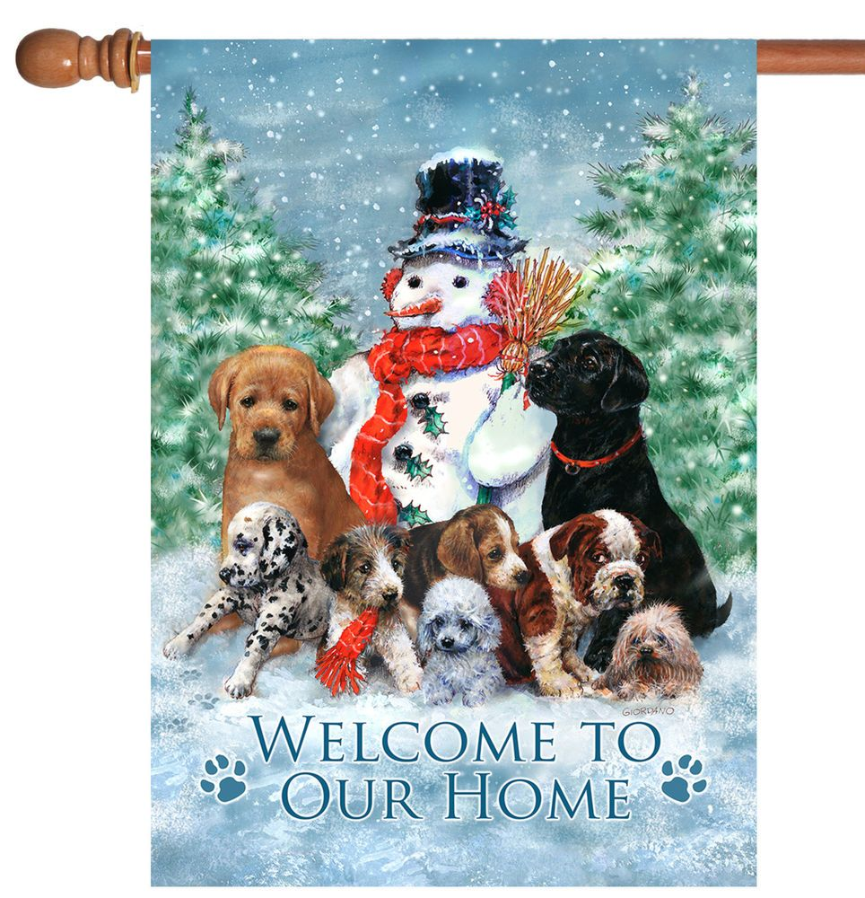 Toland Snowman with Pups 28 x 40 Winter Welcome Home Puppy.