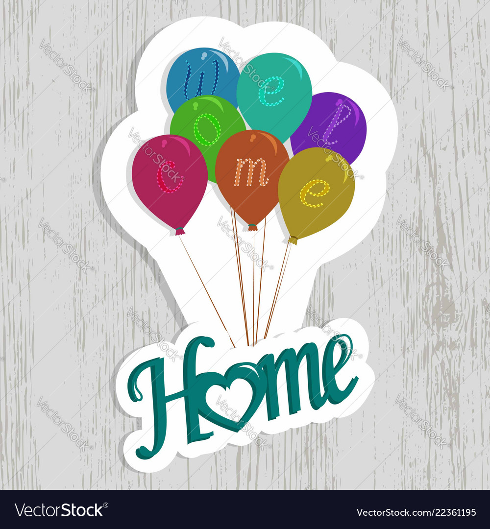 Welcome home clip art with wooden background.