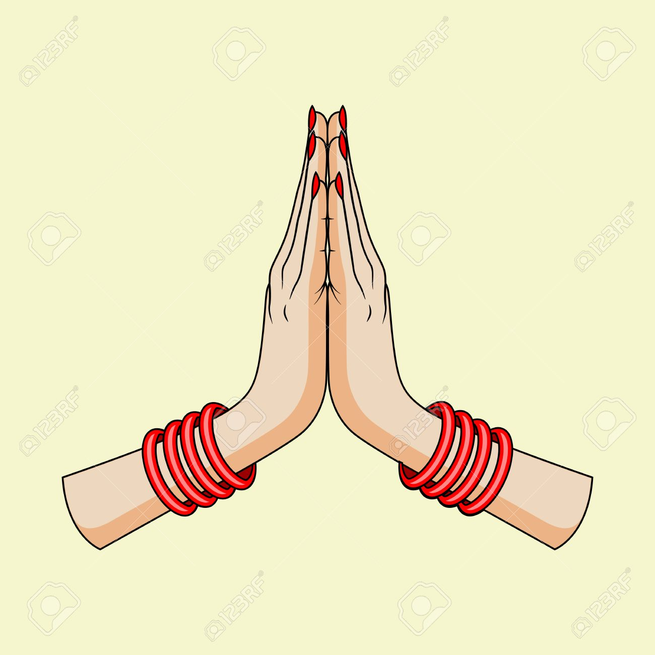 Welcome gesture of hands of Indian woman » Clipart Station.