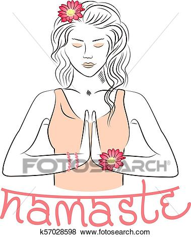 Welcome gesture of hands of Indian woman character in Namaste mudra Clip Art.