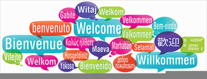 Welcome In Many Languages Clipart.
