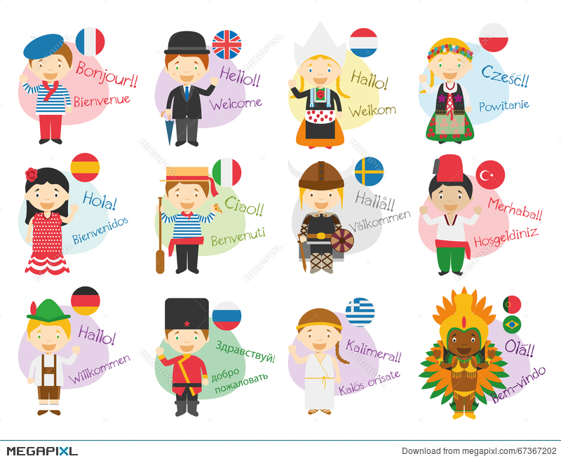Vector Illustration Of Cartoon Characters Saying Hello And.