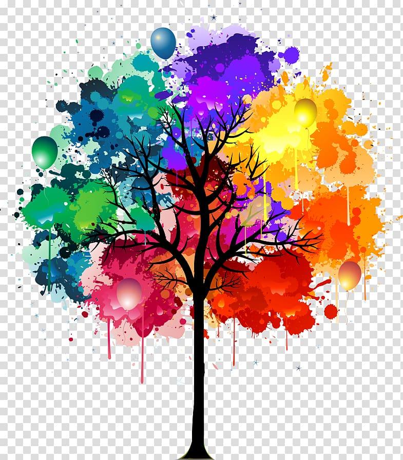 Black and multicolored tree color splash , Watercolor.