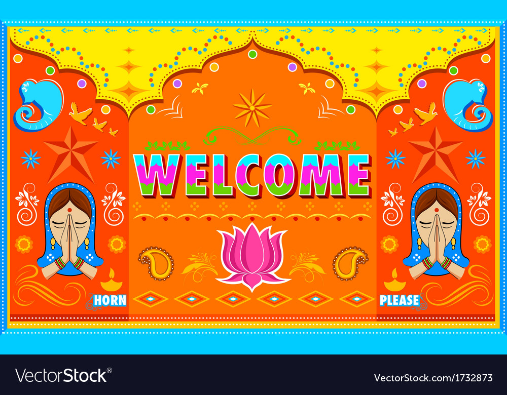 Welcome Background in Indian Truck paint style.