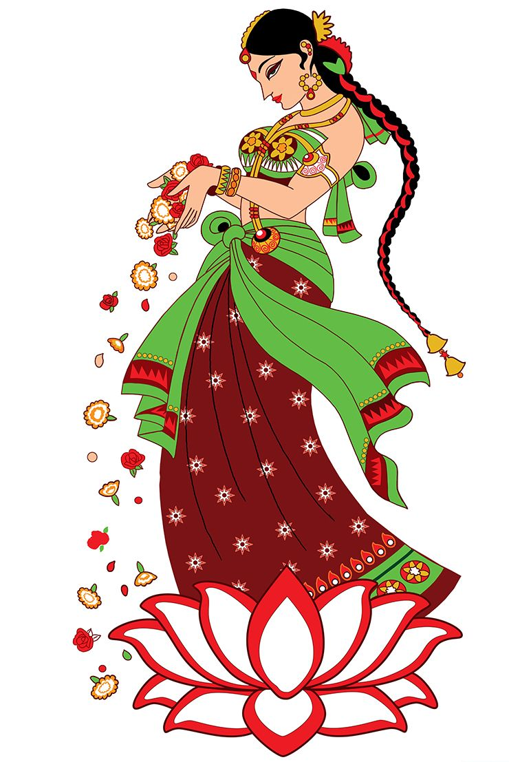 Indian Welcome Lady Clipart.