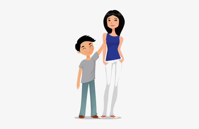 Illustration Of Younger Brother And Older Sister.