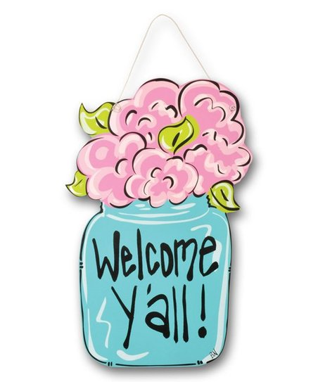 Magnolia Lane \'Welcome Y\'all\' Mason Jar Wood Door Hanger.