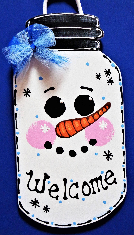 WELCOME SNOWMAN Mason Jar Winter Sign Wall Door Hanger.