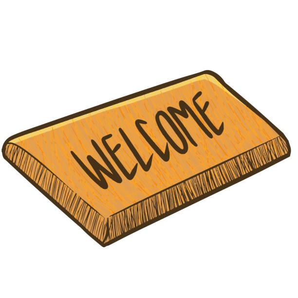 Funny brown doormat in cartoon style.