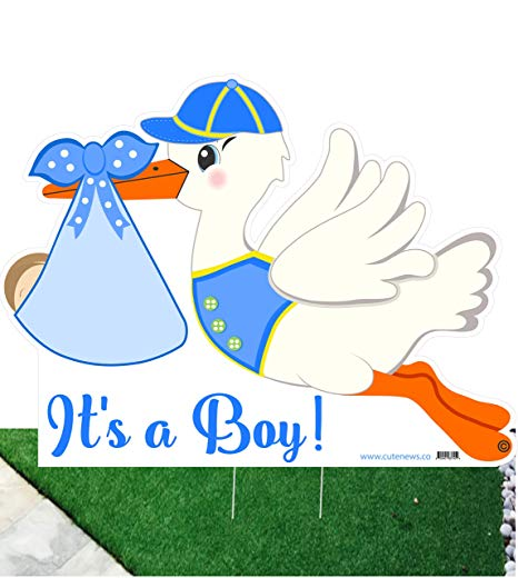 Cute News It\'s a Boy Stork Yard Sign.