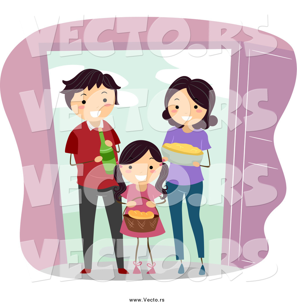 Vector of a Happy Family Giving Food and Beverage to Welcome.