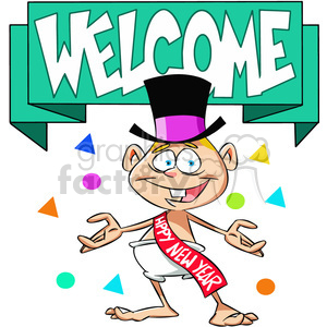 welcome the new year baby new year cartoon vector art clipart. Royalty.