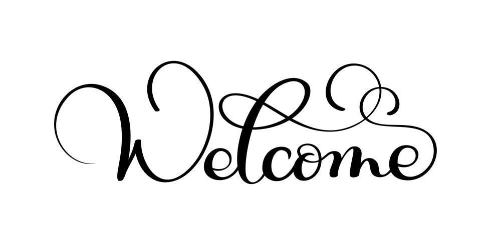 Handwritten Welcome calligraphy lettering word. vector.