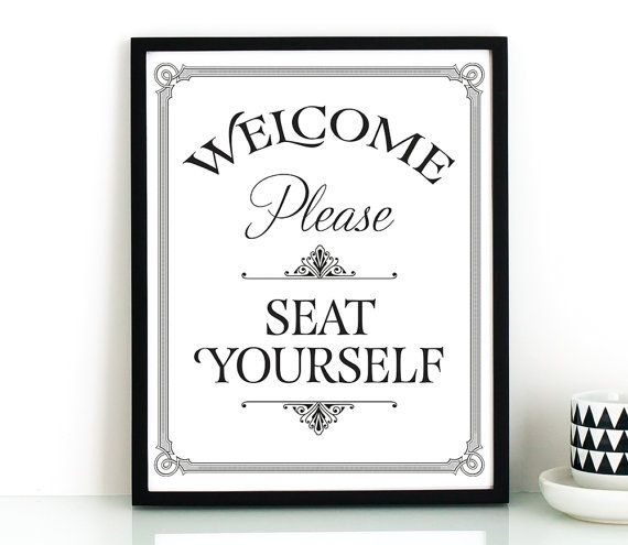 Bathroom wall art, PRINTABLE art, Please seat yourself sign.