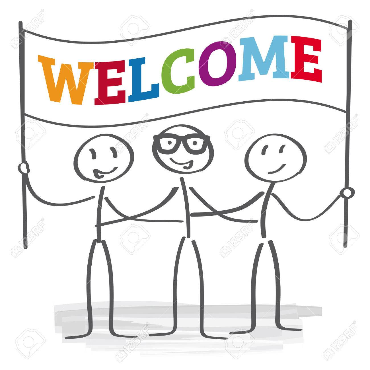 stick figures holding welcome sign.