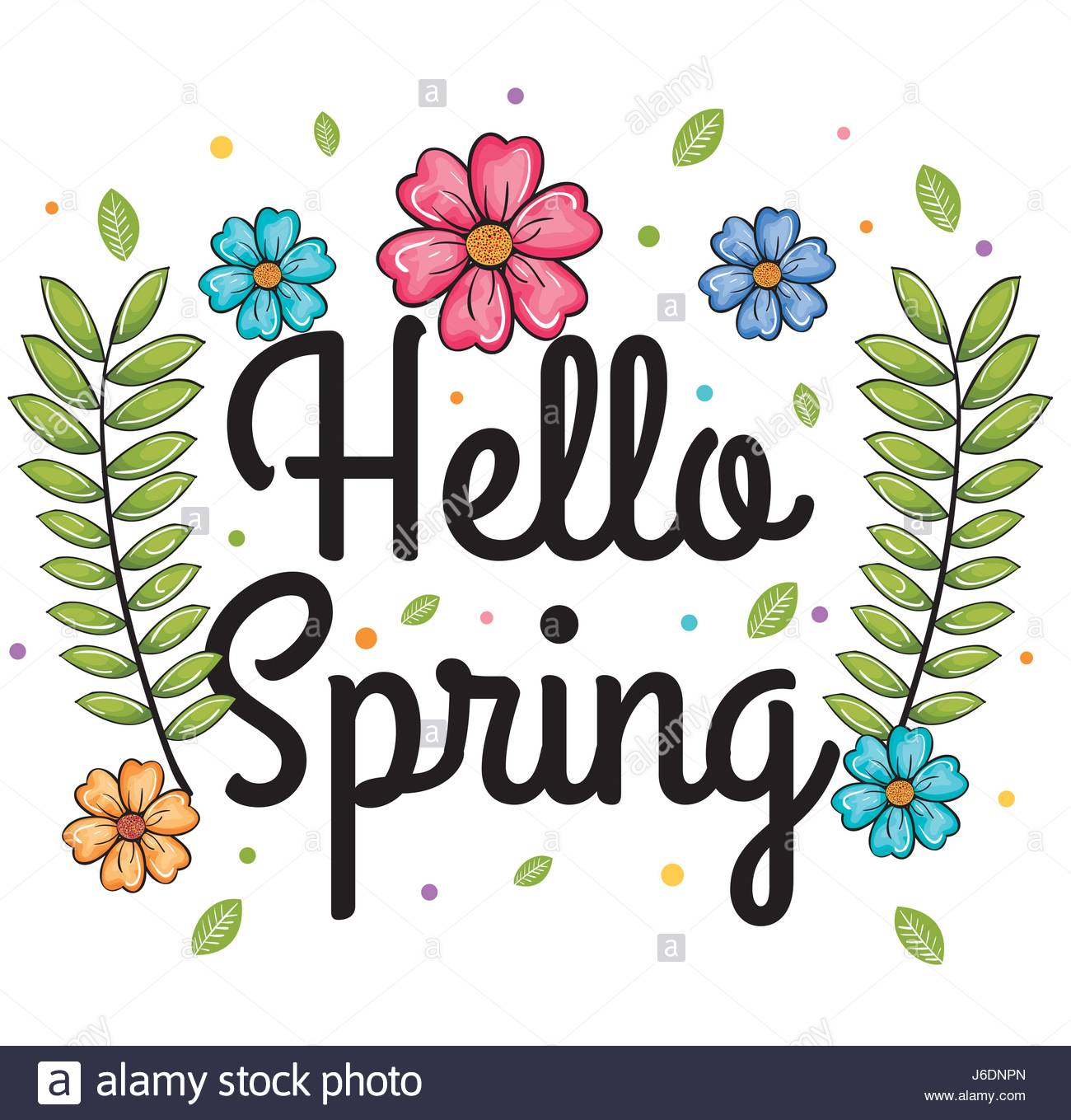 Welcome spring design Stock Vector Art & Illustration, Vector Image.