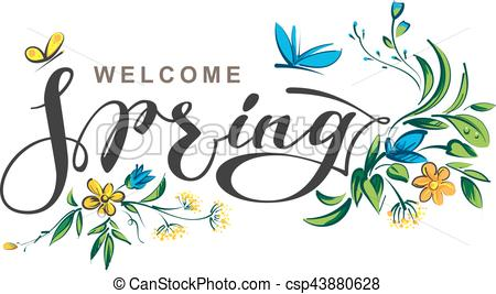 Welcome spring lettering text.