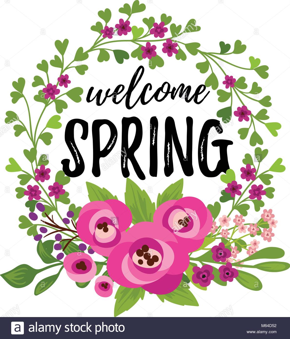 Vector illustration, floral card with Welcome Spring text Stock.