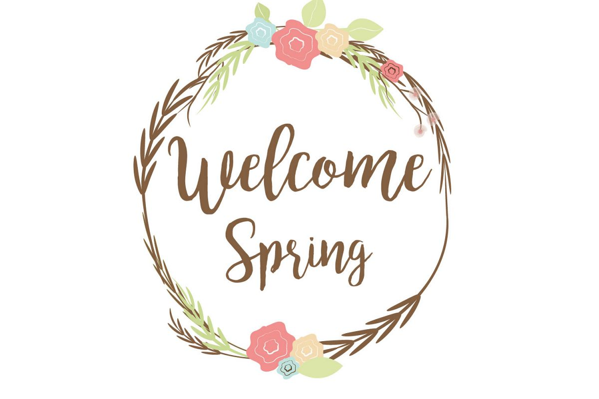 Welcome spring clip art graphic file..
