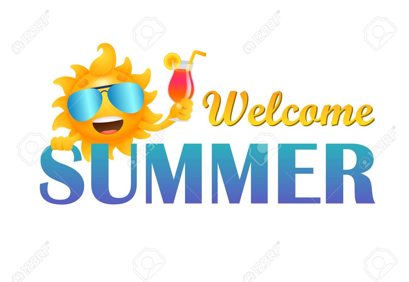 Welcome summer lettering with sun character holding cocktail.