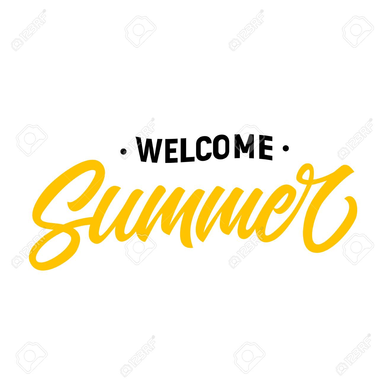 Welcome summer seasonal greeting card template. Calligraphic...