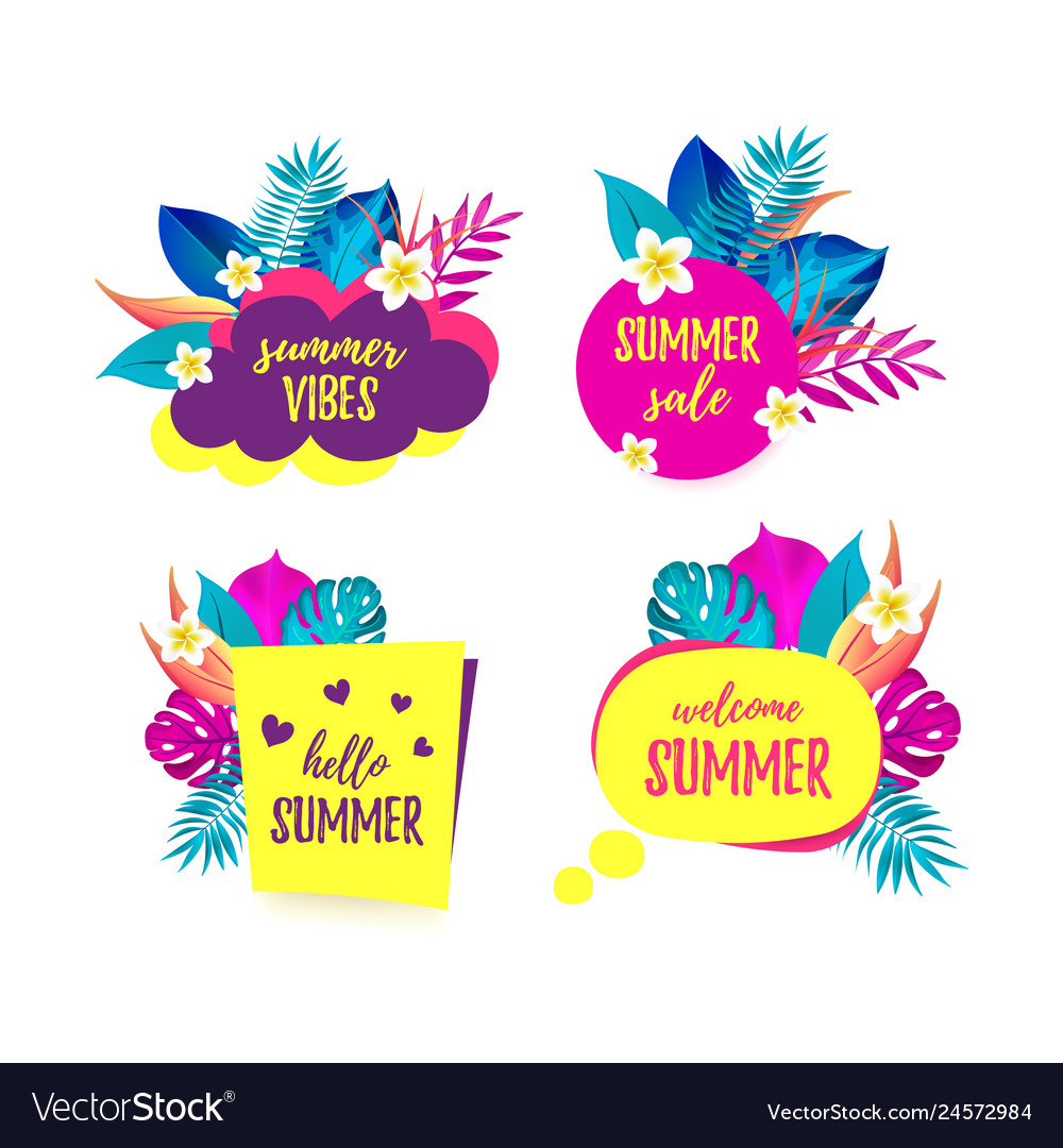 Set of hello summer summer vibes sale welcome.