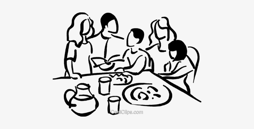 Family At The Table Royalty Free Vector Clip Art.
