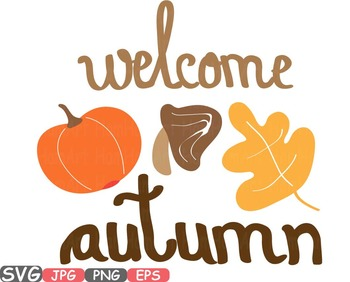 Welcome Autumn Fall Happy Word Art clipart Pumpkins leaf holiday pumpkin  450s.