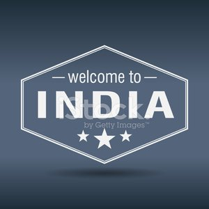 welcome to India hexagonal white vintage label Clipart Image.