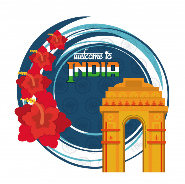 Welcome to india delhi city card Vector.