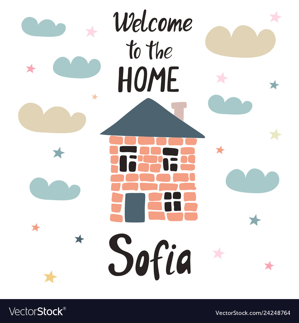 Baby shower poster welcome to the home.
