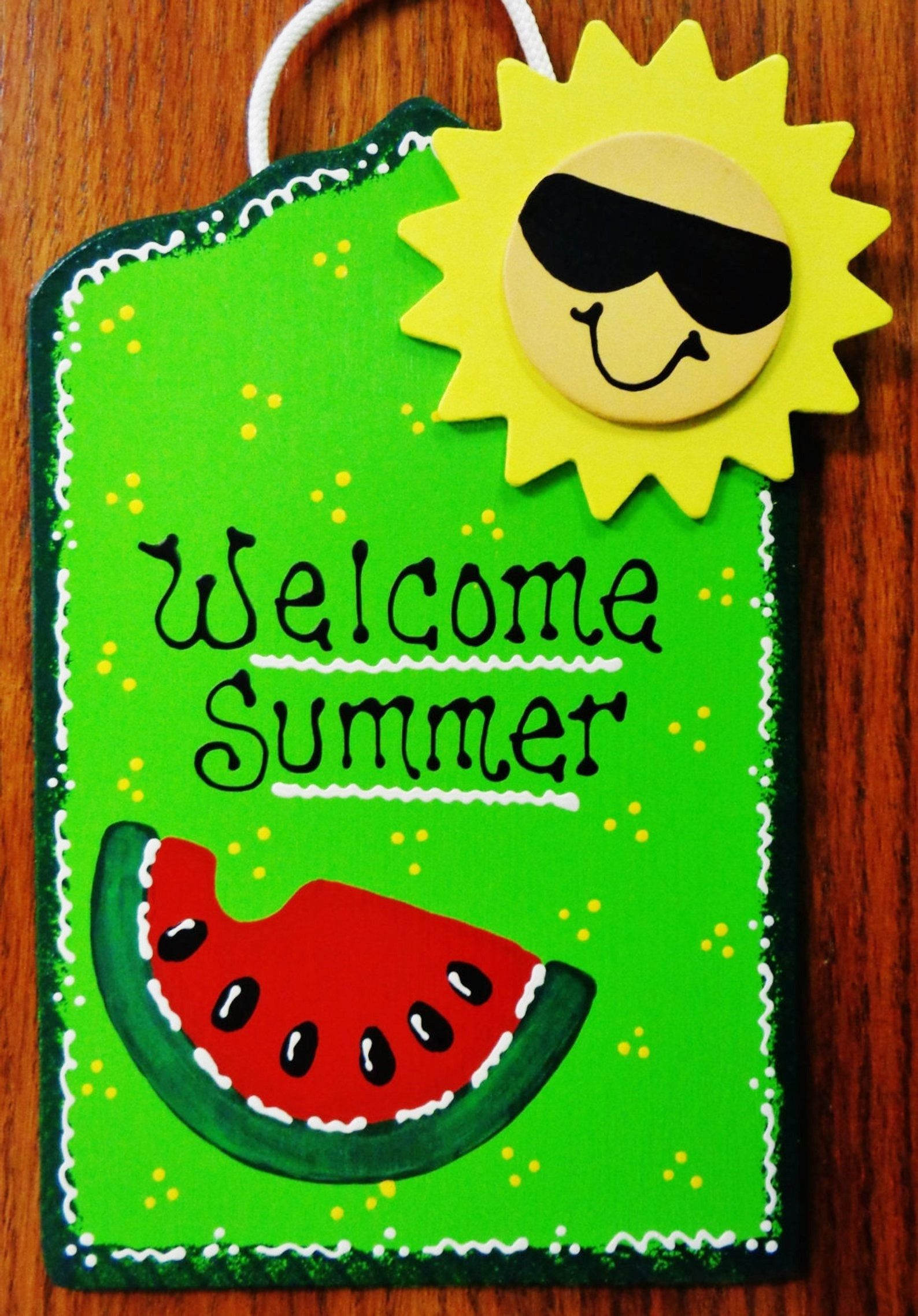 WELCOME SUMMER Watermelon & Sun SIGN Tiki Bar Pool Deck.