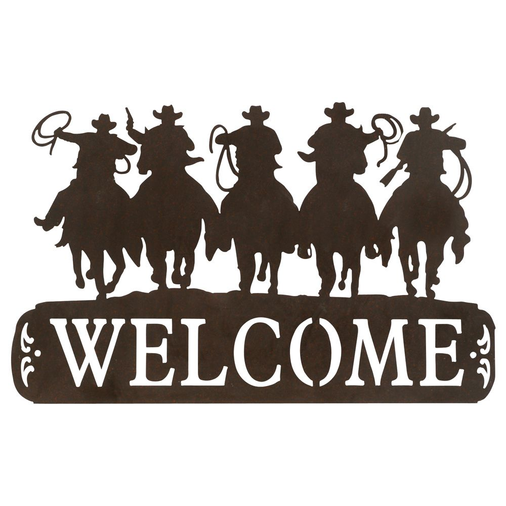 Tin Cowboy Welcome Sign. I need this for the porch.
