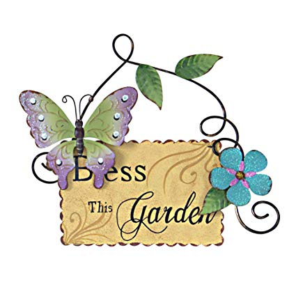 Butterfly Welcome Sign Hanging Wall Art Metal Garden Signs.