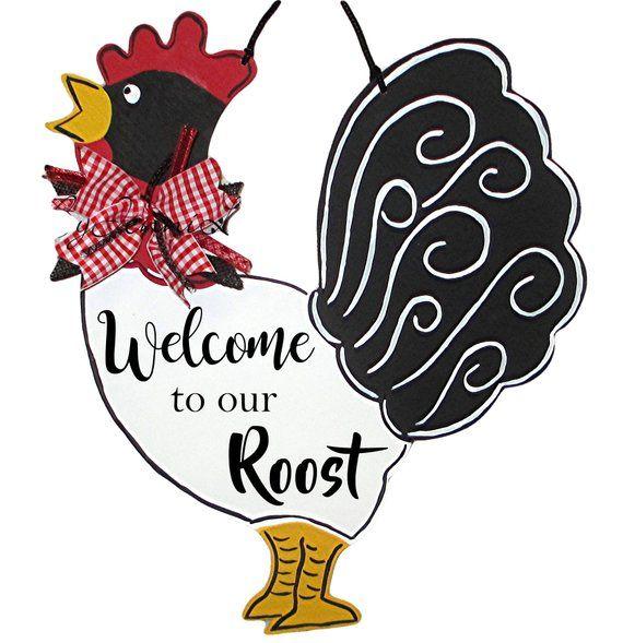 Welcome to Our Roost Door Hanger, Wood Wreath Sign.