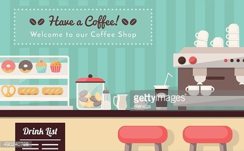 Welcome to the coffee shop Clipart Image.