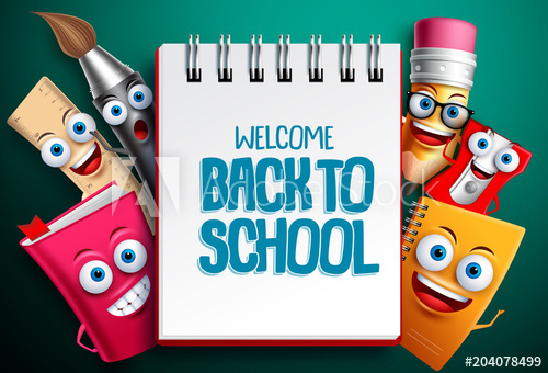 Back to school vector characters background template with.