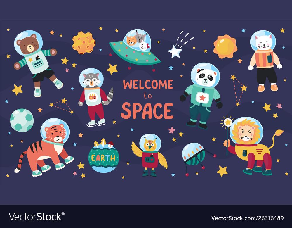 Space animals cute cartoon trendy baanimal.