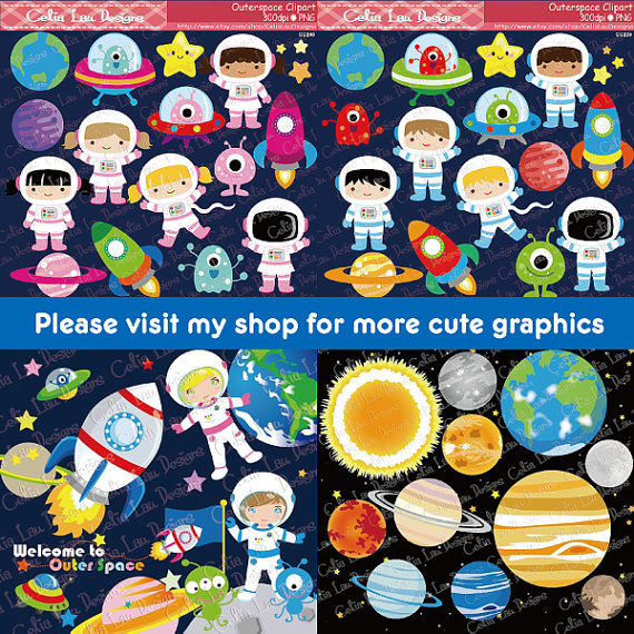 Outer Space Clipart, Girl Astronauts, Rockets, Aliens.